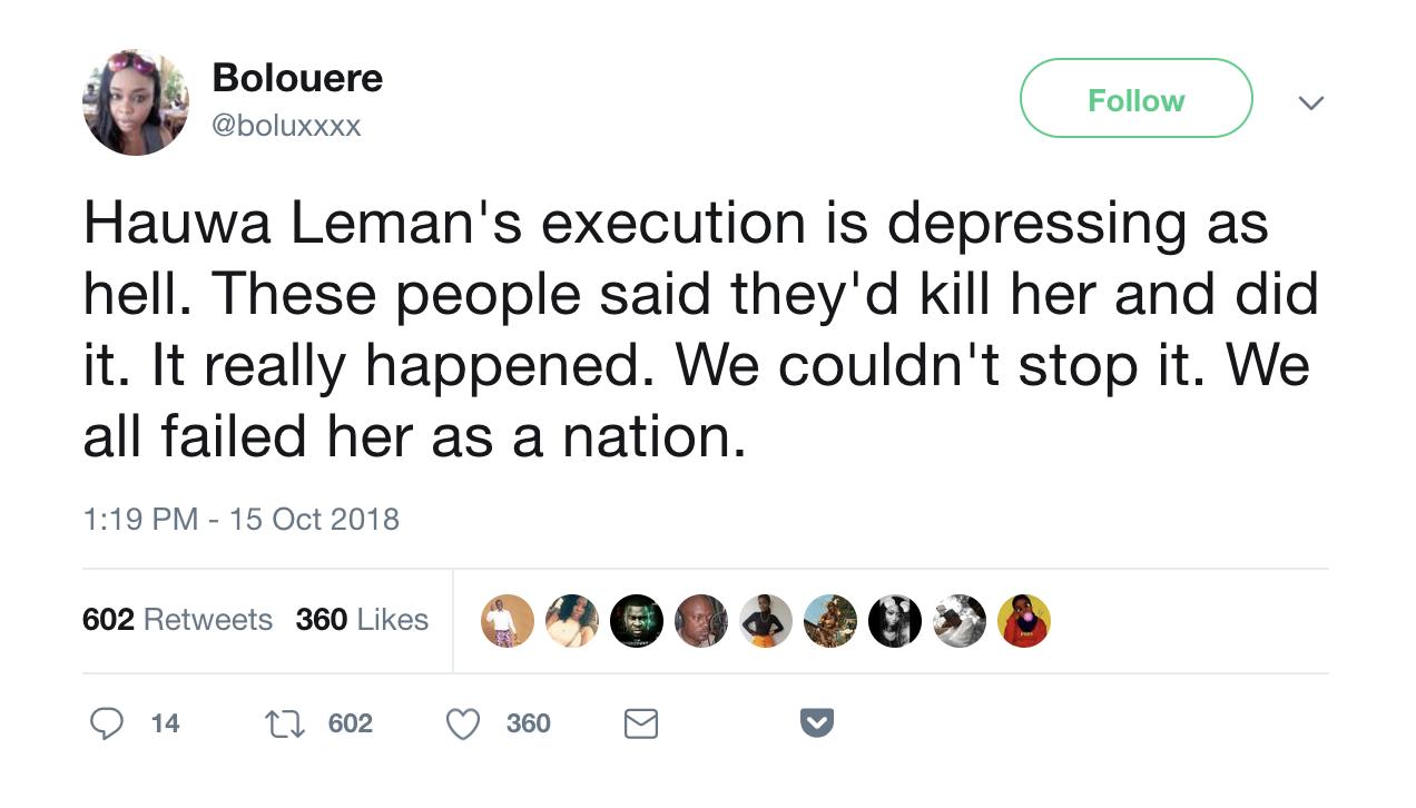 Hauwa Leman - we failed her