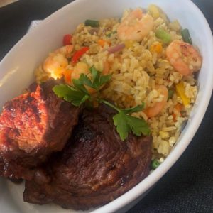 Beef steak and fried rice