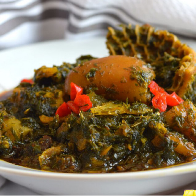 Pick a swallow to devour this plate of Afang soup with.