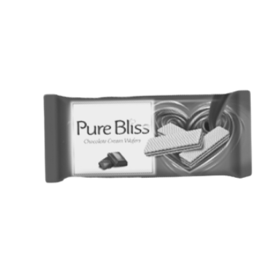 What colour is the packet of Pure Bliss' chocolate wafers?