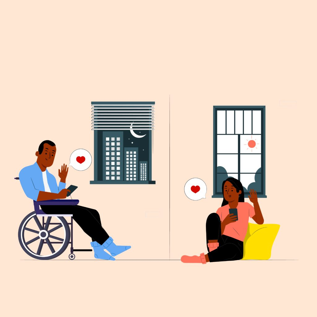 inter-abled long distance couple