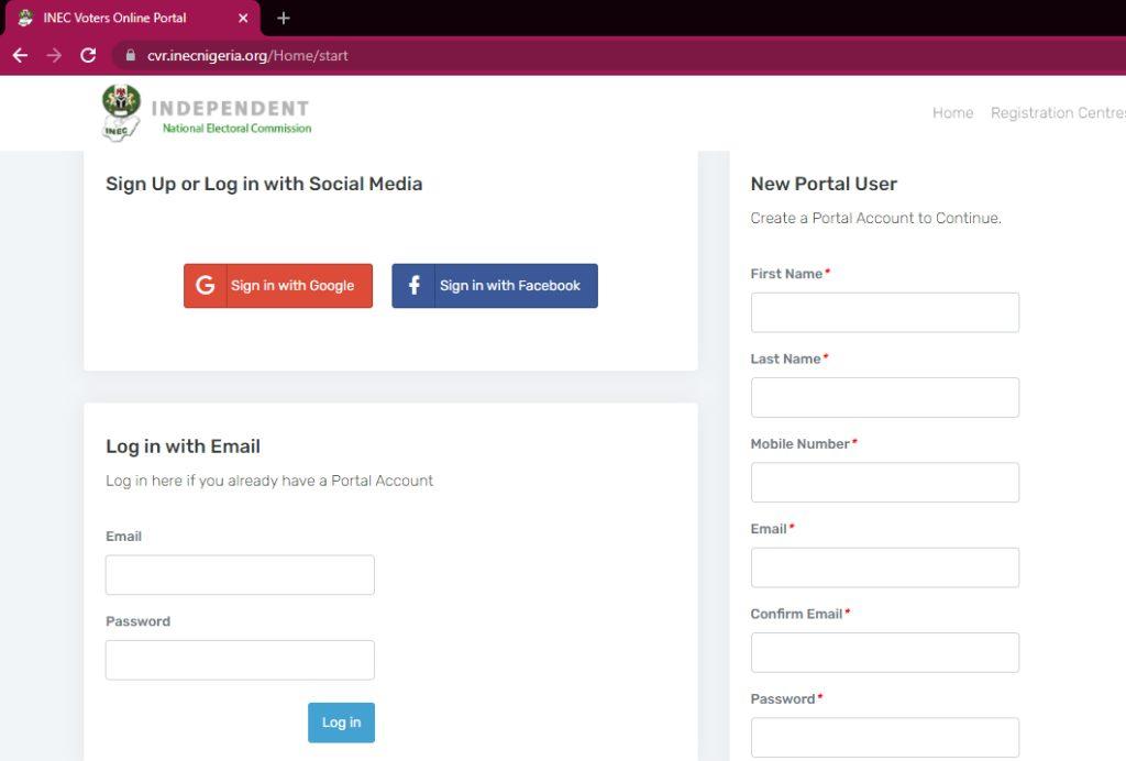 pvc registration online portal login page