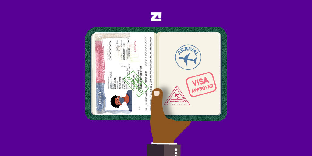 illustrated opened nigerian passport booklet with visa and travel stamps